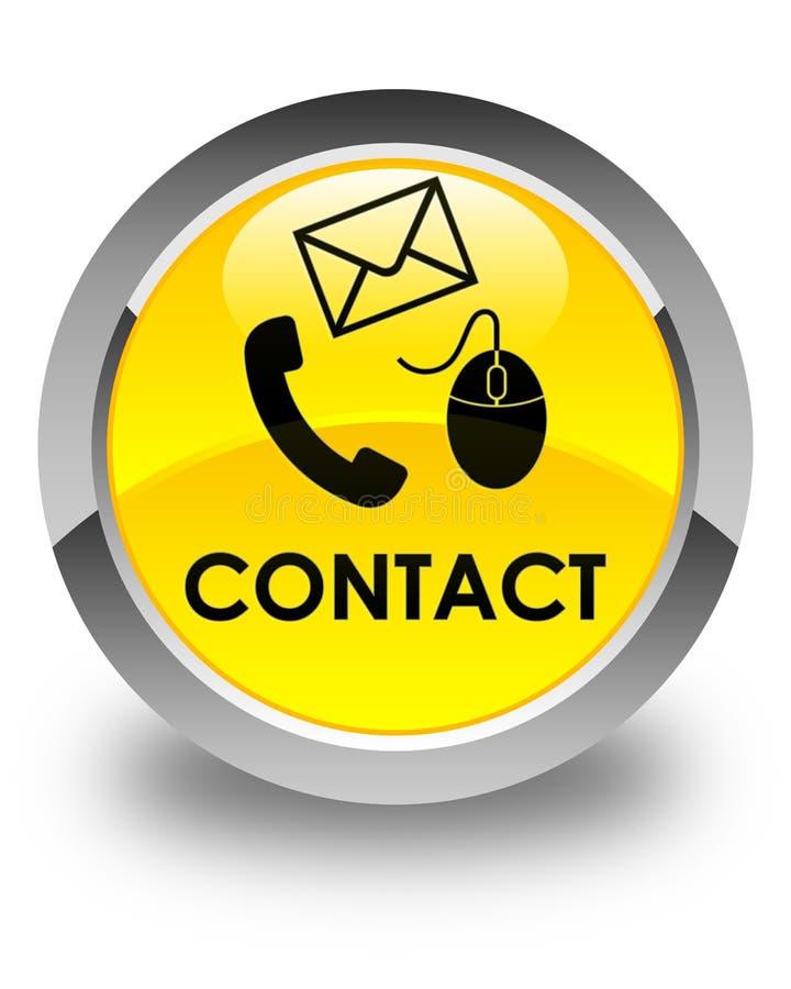 请与(电话电子邮件和老鼠象)黄色光滑的圆的按钮联系 皇族释放例证