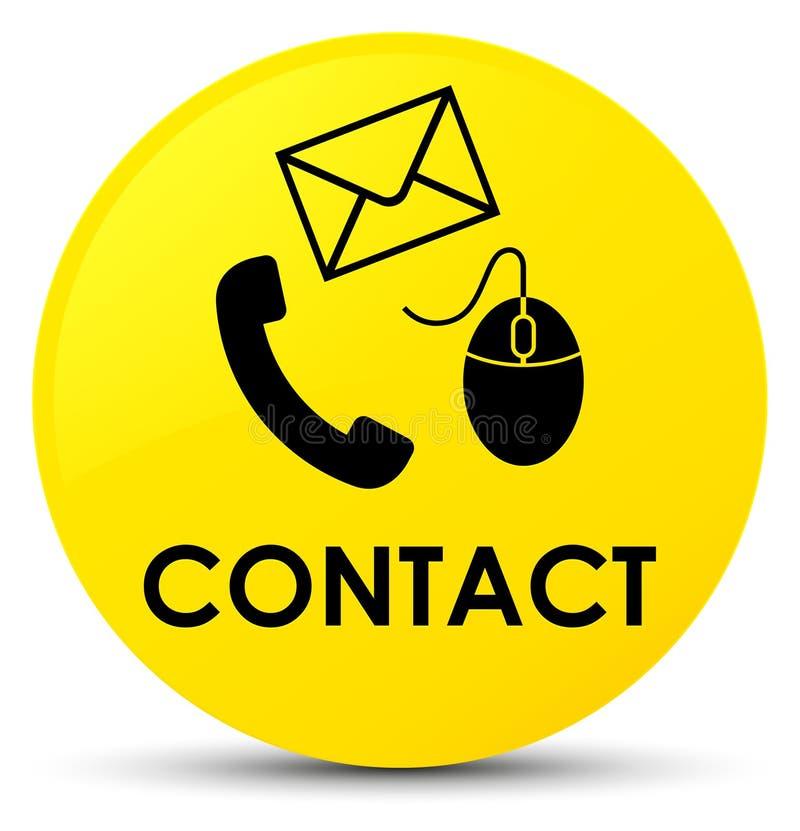 请与(电话电子邮件和老鼠象)黄色圆的按钮联系 向量例证