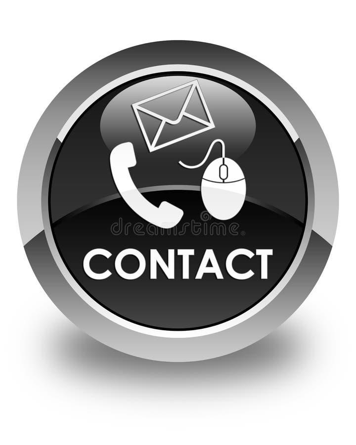 请与(电话电子邮件和老鼠象)黑色光滑的圆的按钮联系 皇族释放例证