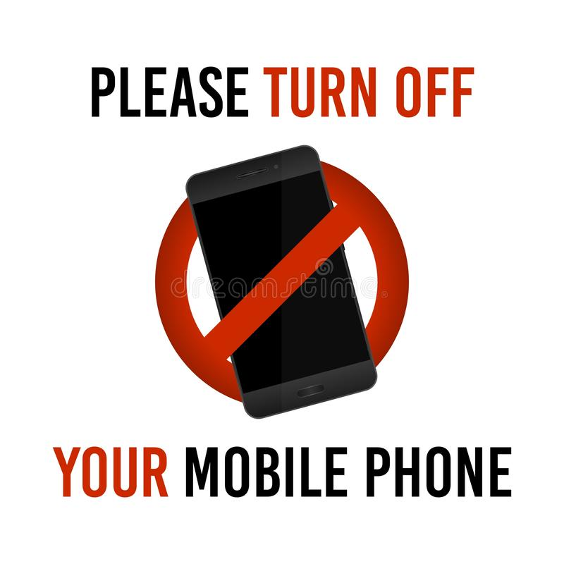请关闭您的手机,传染媒介标志 库存例证
