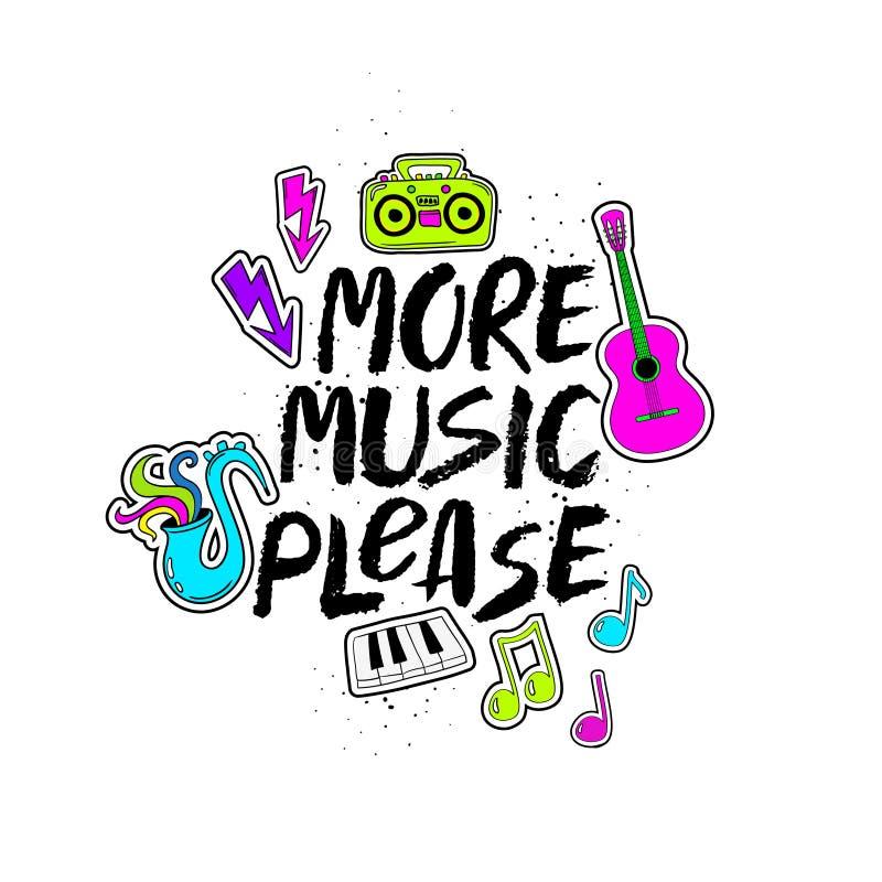 请在上写字与滑稽的贴纸的更多音乐 库存例证