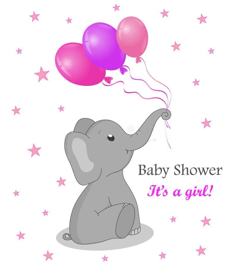 请帖与大象的婴儿送礼会女孩的 与气球的逗人喜爱的大象 生日与平的大象的贺卡 Vecto 向量例证