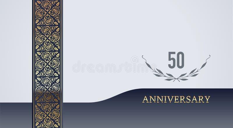 请帖的第50欢乐金黄葡萄酒传染媒介背景 免版税库存照片