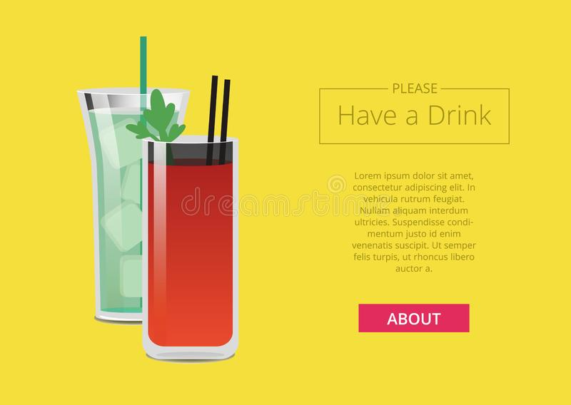 请有与鸡尾酒的一张饮料电视节目预告网海报 库存例证