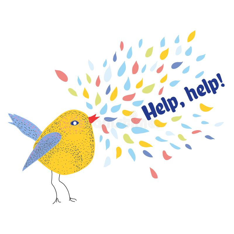 请求与鸟和文本的帮助卡片 也corel凹道例证向量 向量例证