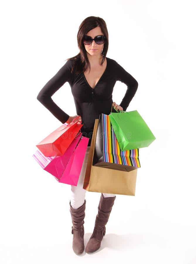 请求可爱的购物妇女 免版税图库摄影
