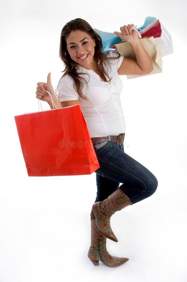 请求女孩愉快的藏品购物 免版税库存照片