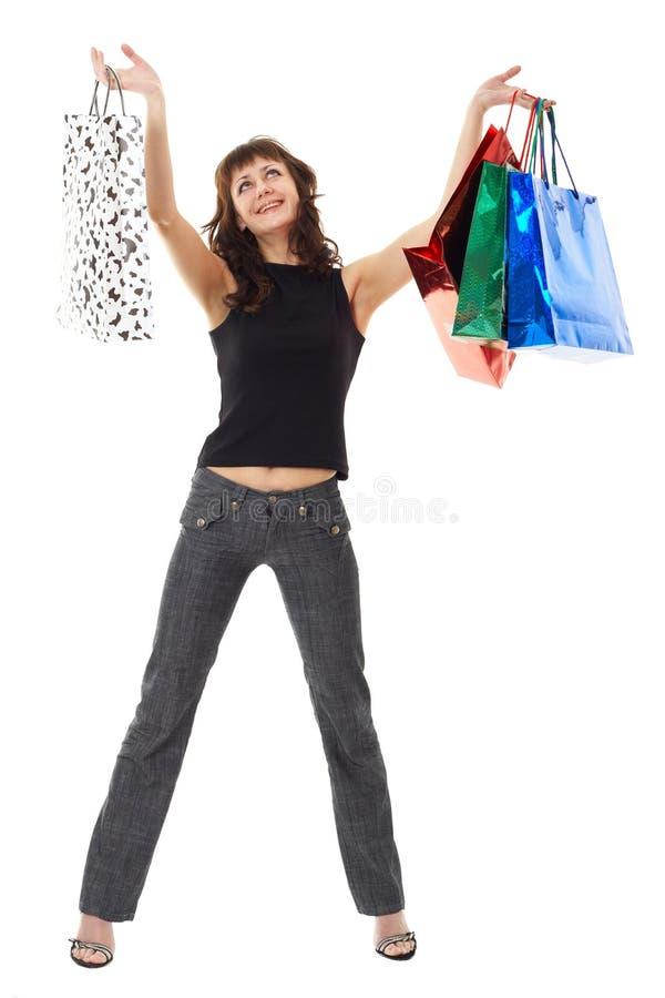 请求女孩购物 免版税库存图片