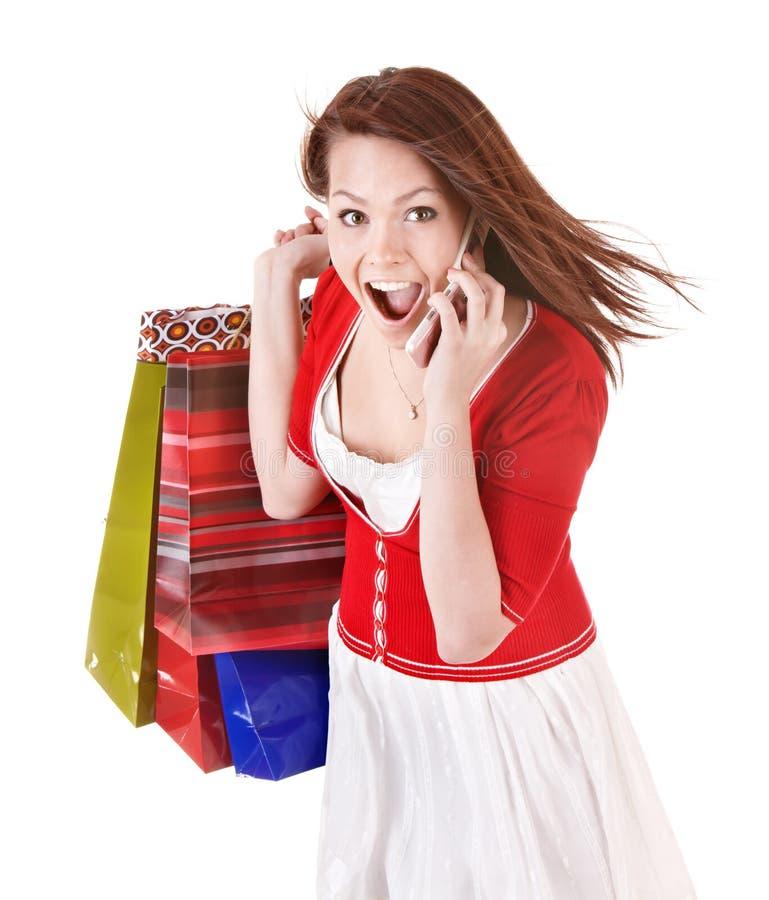 请求应召女郎移动电话购物 免版税库存照片