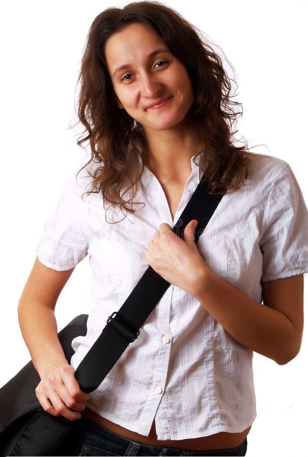 请求微笑的佩带的妇女年轻人 库存图片