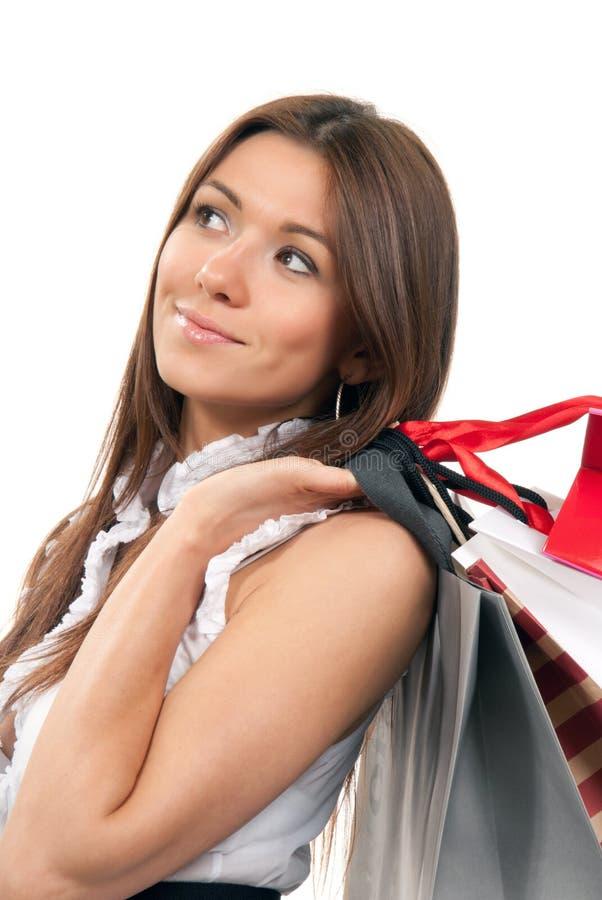 请求礼品现有量藏品购物妇女 免版税库存照片