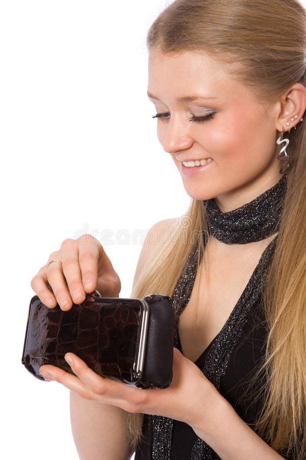 请求移动式摄影车女孩现有量暂挂微笑 免版税库存照片