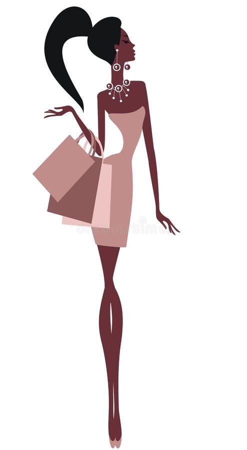 请求美好的女孩购物 向量例证