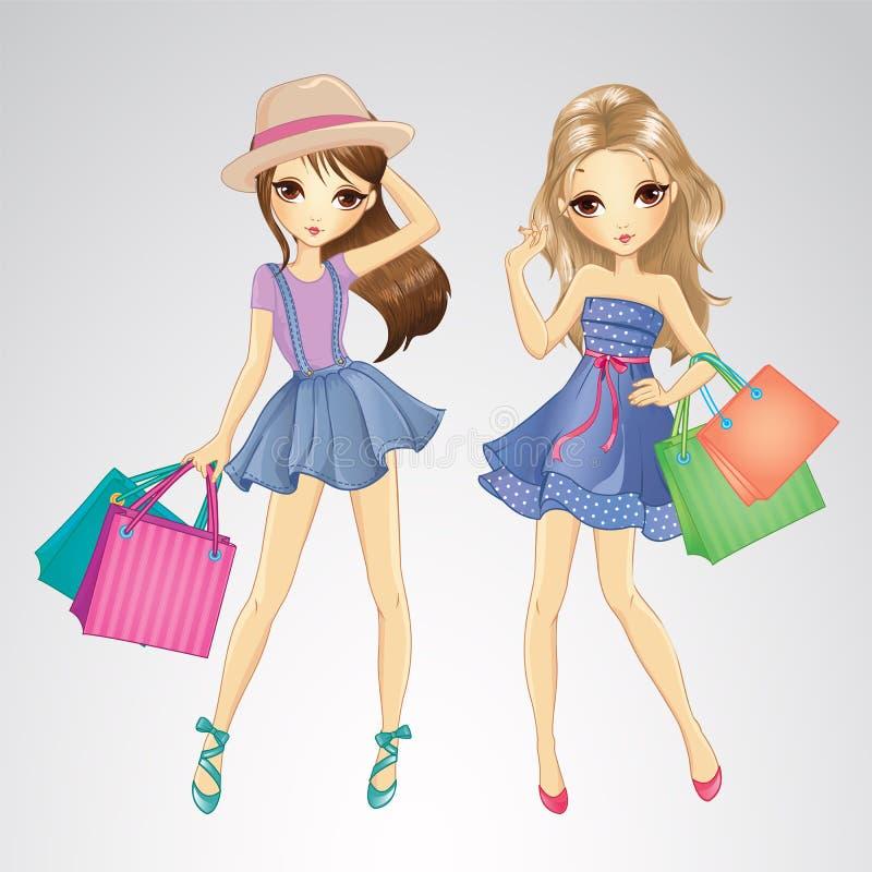 请求逗人喜爱女孩购物 向量例证