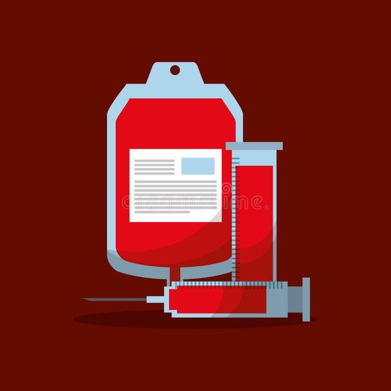 请求验血管和注射器医疗设备 向量例证