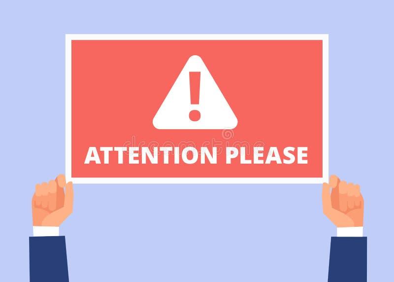 请注意 手举行与重要消息的信息横幅 机敏的公告,注意传染媒介概念 向量例证