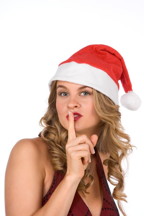 请要求白肤金发的克劳斯夫人圣诞老人沈默 免版税库存图片