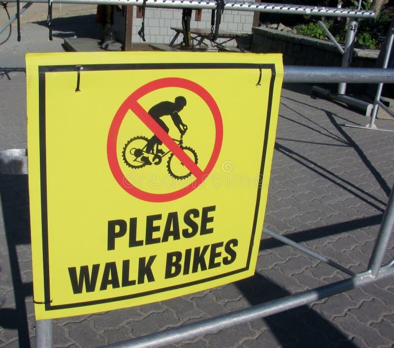 请走自行车标志 免版税库存照片