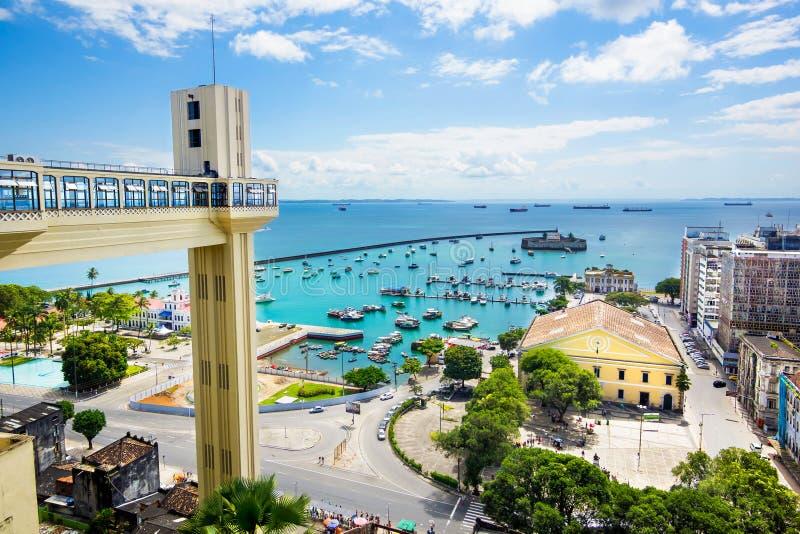 诸圣日海湾看法在萨尔瓦多,巴伊亚,巴西 免版税库存照片
