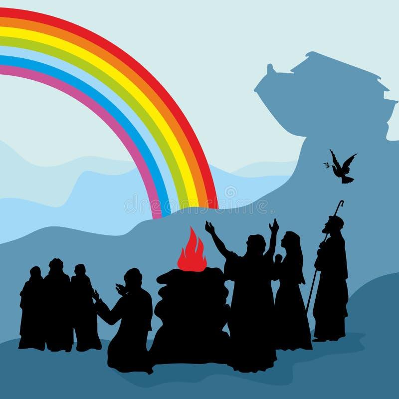 诺亚和他的家庭看见彩虹-上帝` s契约的标志 向量例证