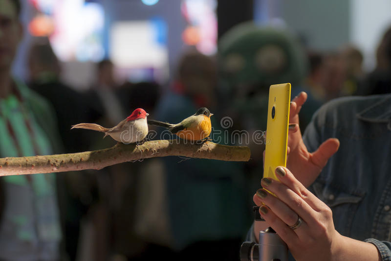 诺基亚LUMIA 1520照片测试,流动世界国会2014年 库存照片