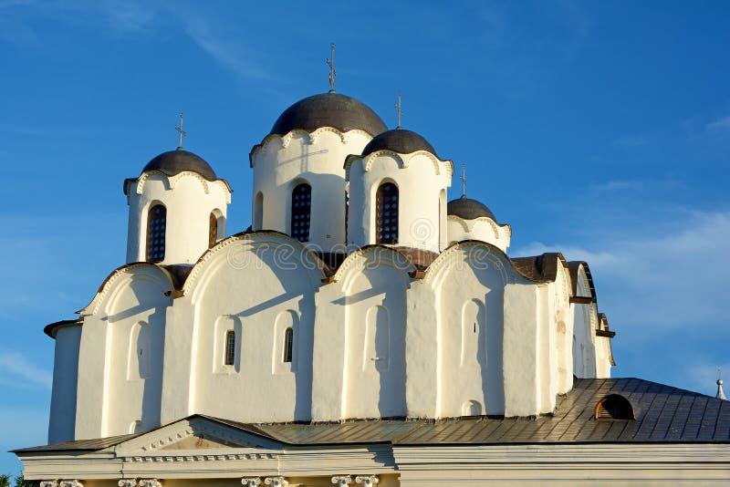诺夫哥罗德伟大,圣尼古拉斯大教堂的片段 免版税库存照片