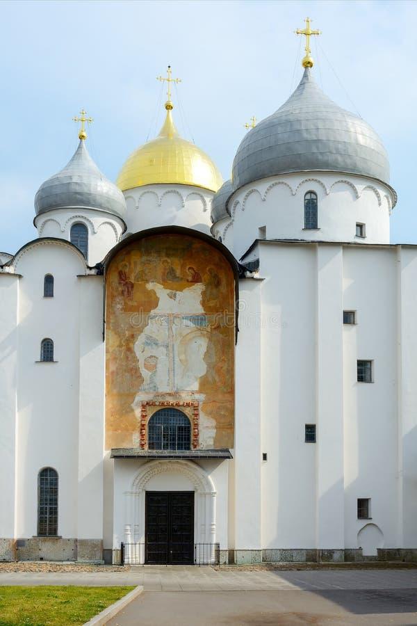 诺夫哥罗德伟大,圣徒索菲娅大教堂 库存图片