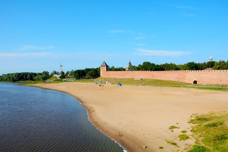 诺夫哥罗德伟大,城市海滩 库存照片
