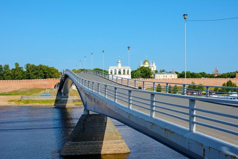 诺夫哥罗德伟大,步行桥 库存照片