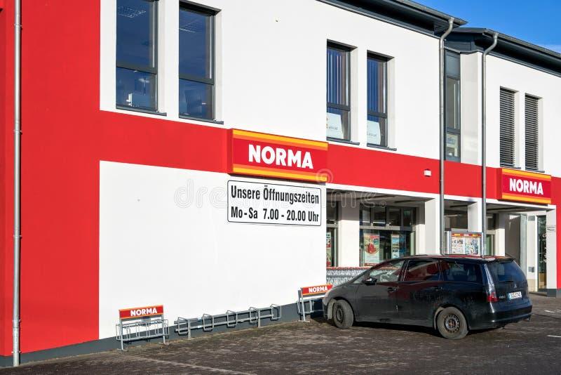 诺尔玛分支在克罗伊茨塔尔,德国 免版税库存图片