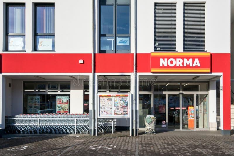 诺尔玛分支在克罗伊茨塔尔,德国 免版税库存照片