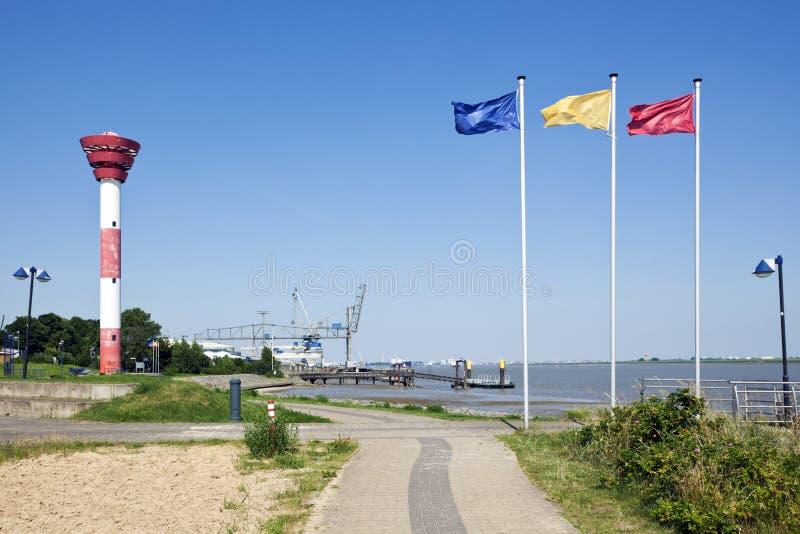 诺尔登哈姆、灯塔和港口 免版税库存图片