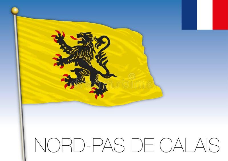 诺德舞步de加来地方旗子,法国,传染媒介例证 皇族释放例证