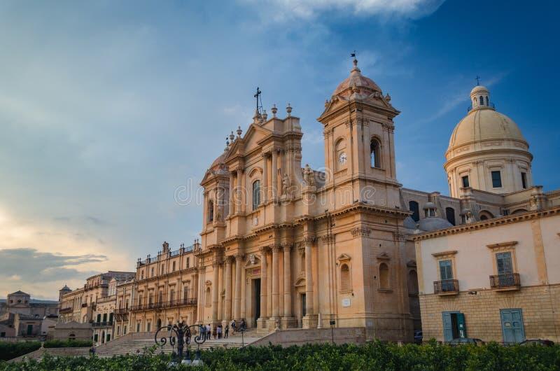 诺托,西西里岛-诺托大教堂的历史的中心-迈拉圣尼古拉斯较小大教堂  免版税库存图片