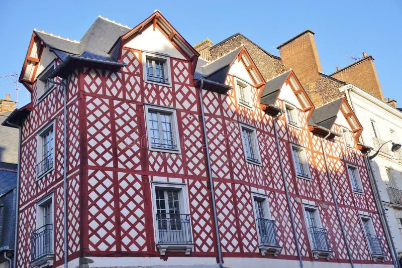 诺曼底托特中世纪房子在雷恩,法国 免版税图库摄影