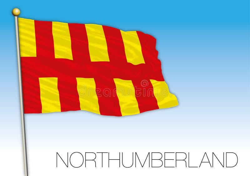 诺森伯兰角旗子,英国,英国的县 库存例证