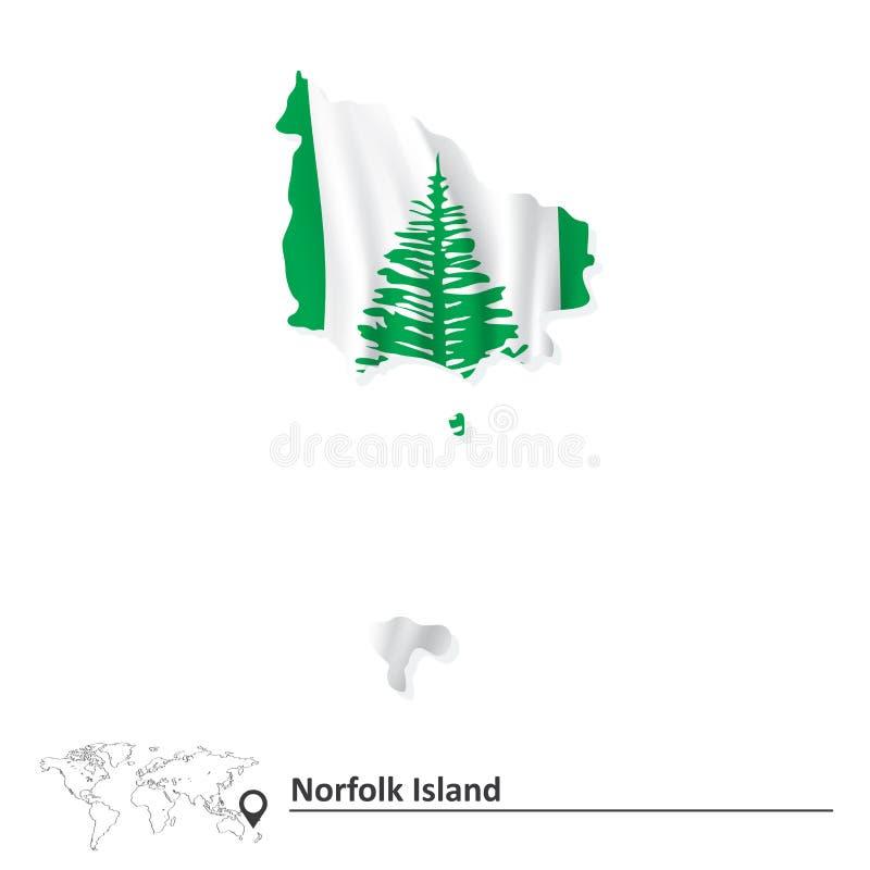 诺福克岛地图有旗子的 皇族释放例证