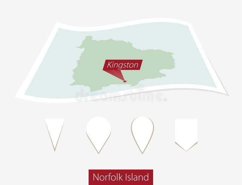 诺福克岛弯曲的纸地图有首都的金斯敦灰色的 皇族释放例证