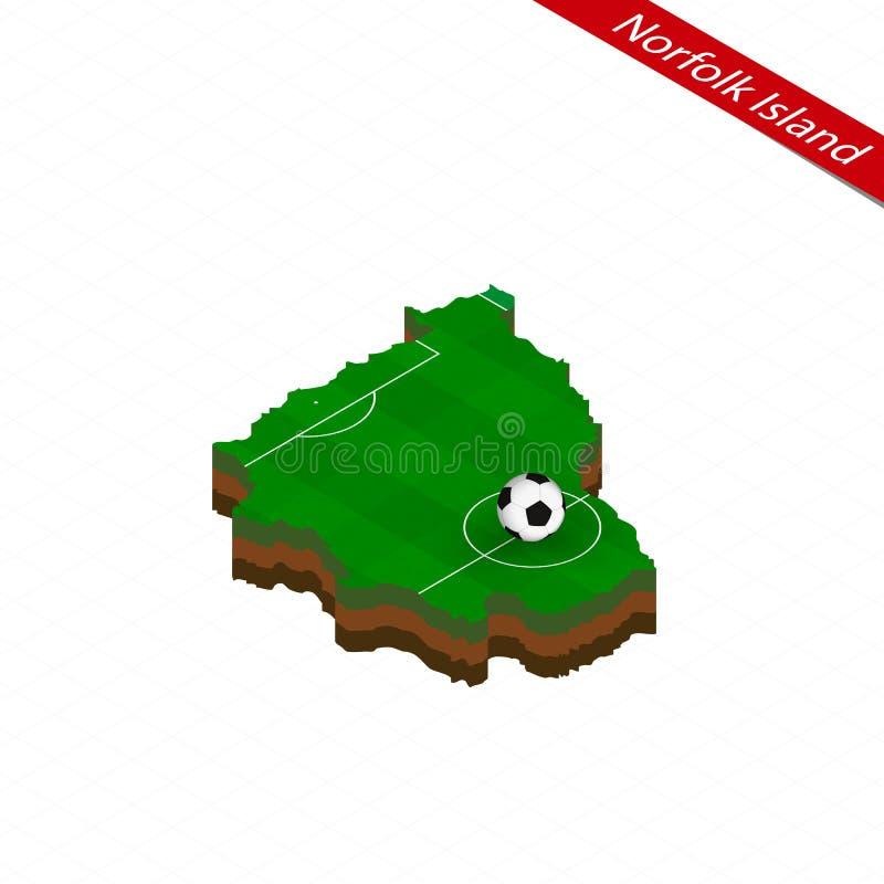 诺福克岛等量地图有足球场的 橄榄球球在橄榄球球场的中心 皇族释放例证