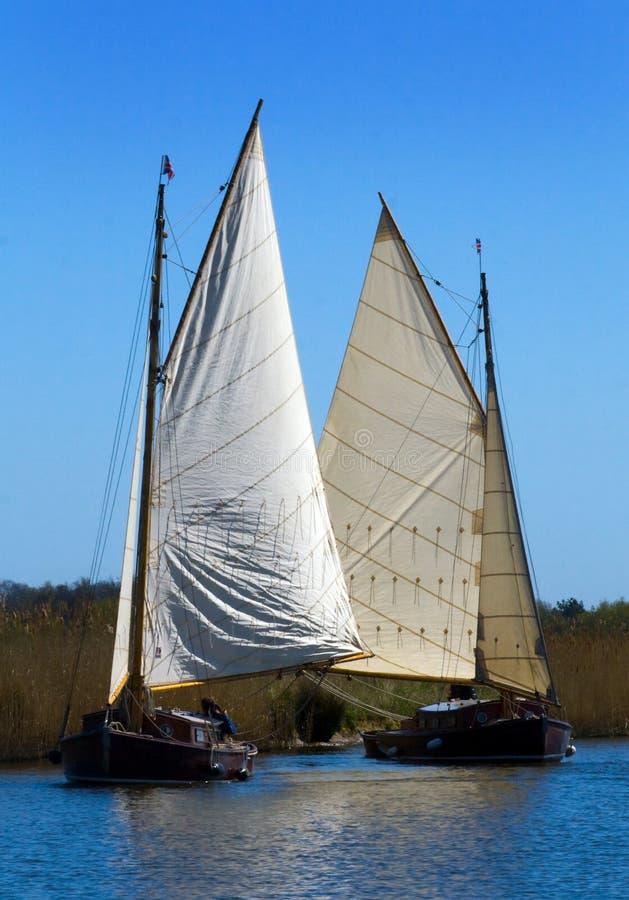 诺福克Broads小舟摆渡船 库存图片