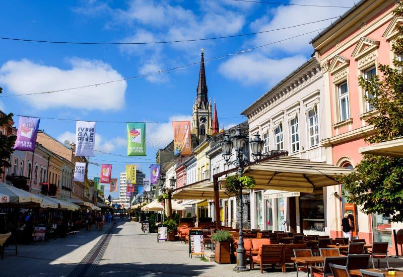 诺维萨德,塞尔维亚- 2018年8月15日:在中部城市正方形的诺维萨德步行走的地区在一好日子 库存照片
