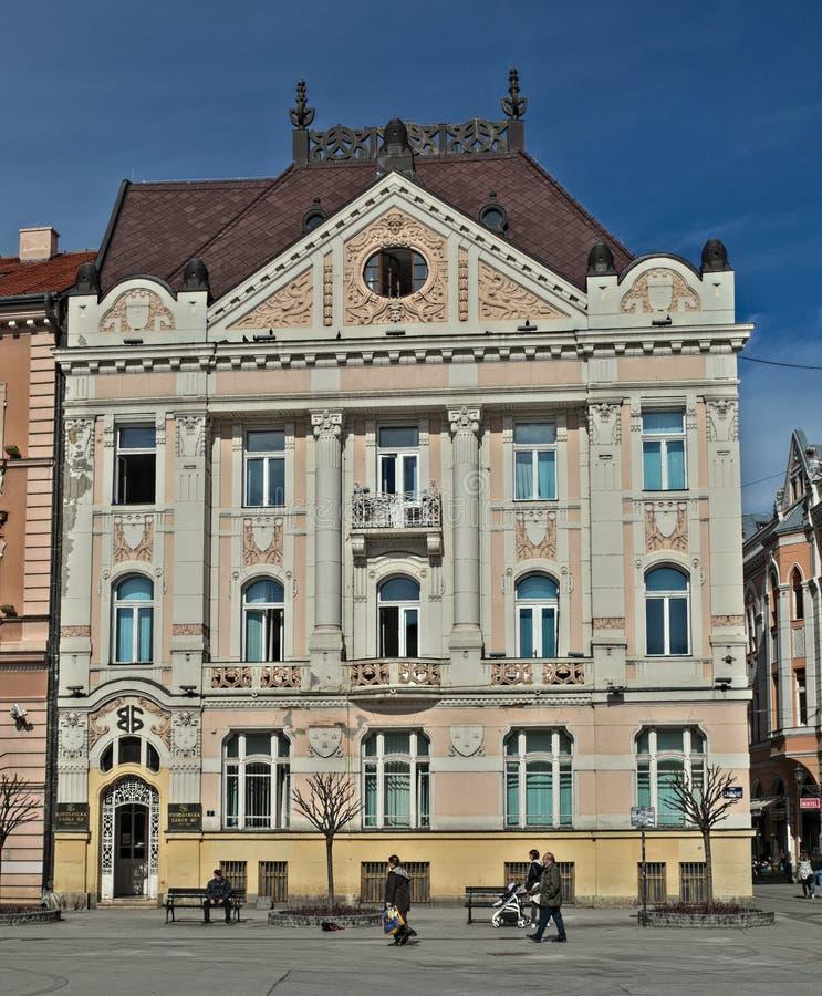诺维萨德,塞尔维亚- 2018年3月13日:在城市广场的被恢复的19世纪大厦 免版税图库摄影