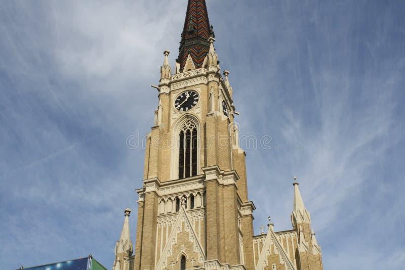 诺维萨德, 05 01 2018年 -玛丽教会的名字是天主教教区教堂在诺维萨德 库存图片