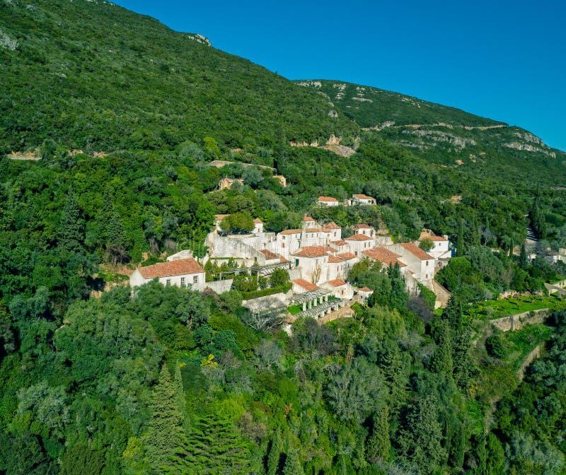 诺萨Senhora da Arrabida女修道院在国家公园在Por 库存图片