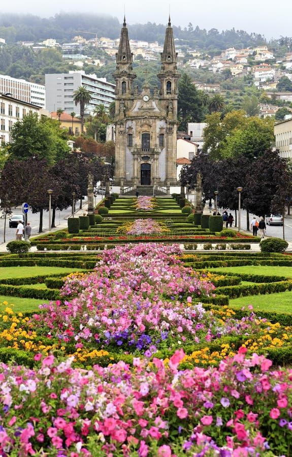 诺萨Senhora da Consolacao e dos桑托斯Passos教会(亦称圣地Gualter教会)在吉马朗伊什,葡萄牙 科教文组织世界遗产站点 免版税图库摄影