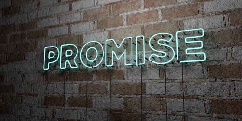 诺言-在石制品墙壁上的发光的霓虹灯广告- 3D回报了皇族自由储蓄例证 库存例证