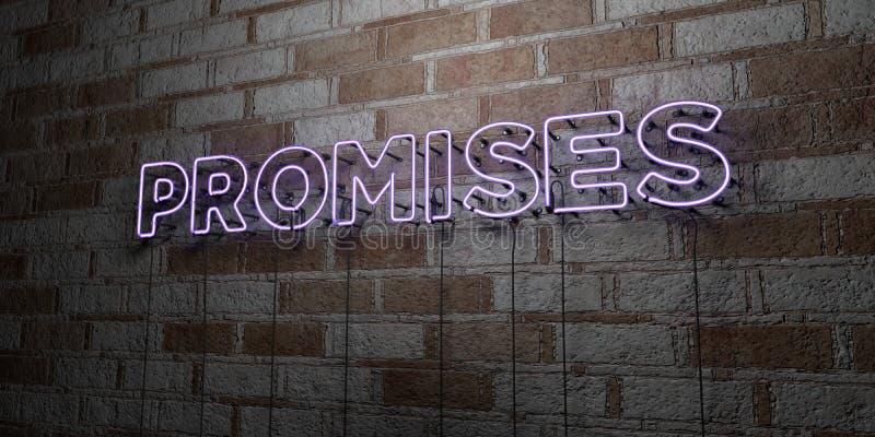 诺言-在石制品墙壁上的发光的霓虹灯广告- 3D回报了皇族自由储蓄例证 向量例证
