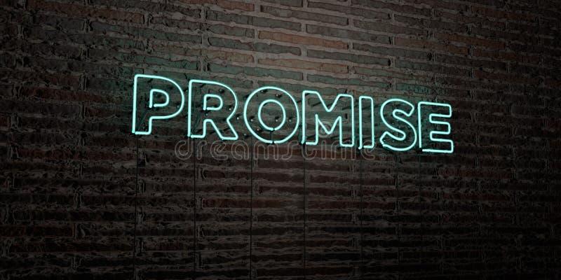 诺言-在砖墙背景的现实霓虹灯广告- 3D回报了皇族自由储蓄图象 皇族释放例证