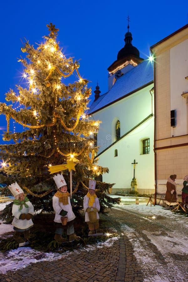 诺韦梅斯托在圣诞节的nad Metuji,捷克 免版税图库摄影