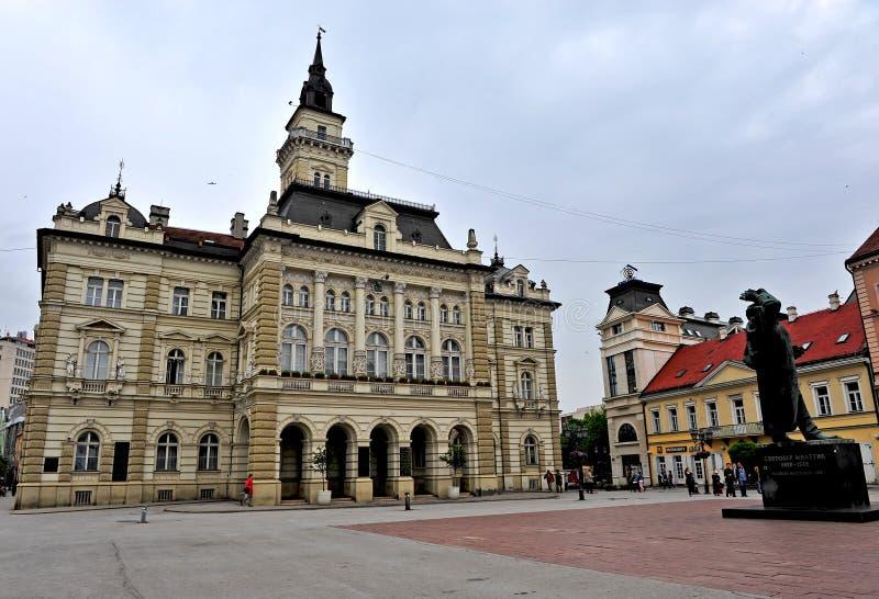 诺维萨德市,塞尔维亚中心广场看法  免版税库存照片